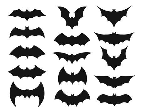 Collection of black bat silouettes or symbols