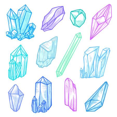 Stone crystals set, gemstone or precious decoration