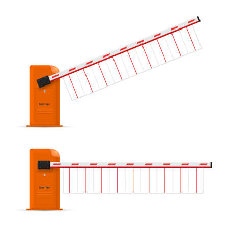 Barrier boom gate realistic templates set. Electronic car parking boundary. Traffic obstacles.