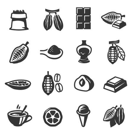 Cocoa pods, beans, seeds, chocolate bold black silhouette icons set isolated on white.
