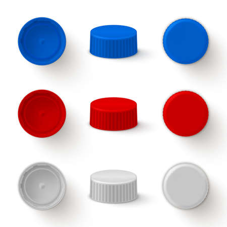 Caps plastic for bottles realistic mock ups set. Top, bottom, side view. Lids white, red, blue.