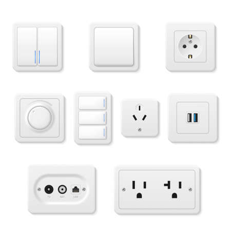 Sockets, light switches, outfits different design realistic set. Electrical supplies, panels. Vecteurs