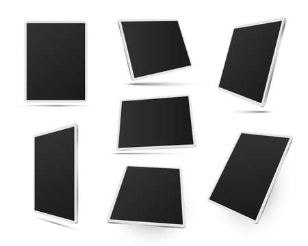 Tablets pc in white color realistic mockups set. Front, side, three quater view. Digital devices.