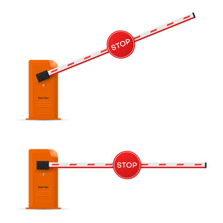 Car barrier with stop traffic sign realistic set. Passage prohibited or permitted.