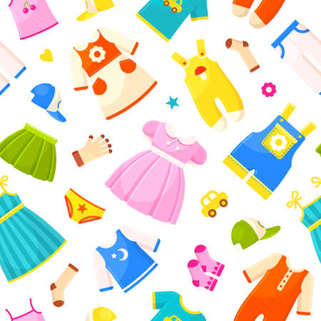 Baby clothes pattern, bright fabric and kid textile