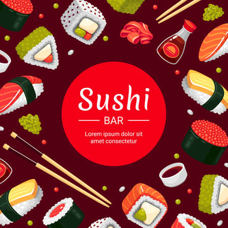 Sushi bar square banner template