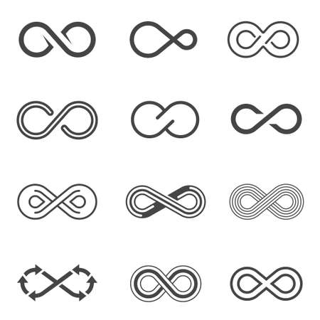Infinity symbols, limitless signs linear icons set Vecteurs
