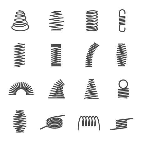 Set of spiral coil springs or curved elastic wires Ilustracje wektorowe