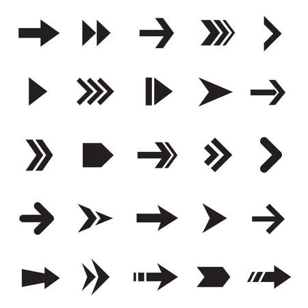 Simple arrows black and white icons set Vector Illustration