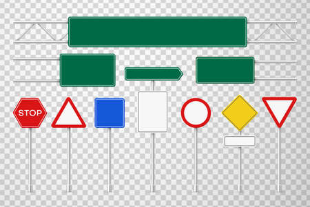 Road signs colorful realistic 3d vector illustrations set