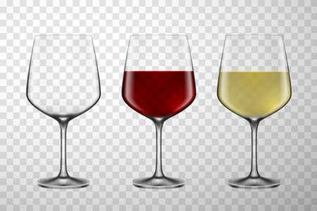 Wine glasses colorful realistic 3d vector illustration set