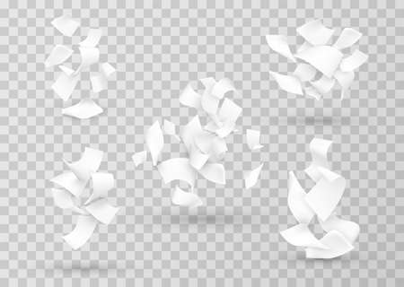 Papers combination, cluster realistic templates set. Curved sheets falling down.