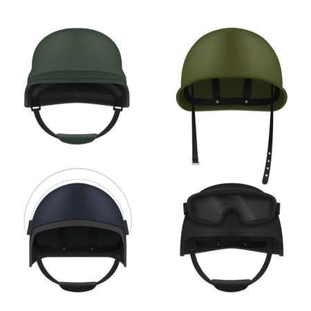 Military helmets realistic set. Soldier hardhat. War outfit. Army uniform elements. Vetores