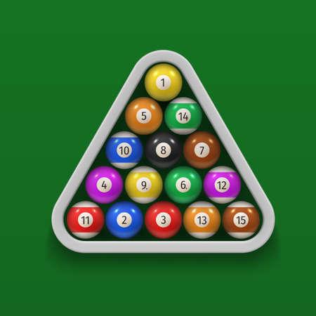Billiard balls in wooden triangle rack on green cloth surface realistic illustration. Vector Illustratie