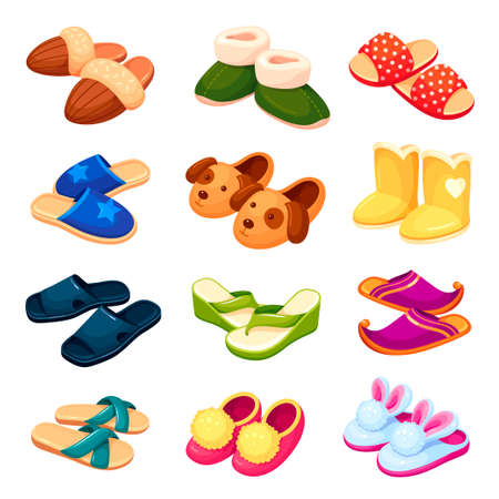 Set colorful cartoon funny house slippers vector home footwear with cute animal muzzle foot garment Vektorové ilustrace