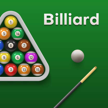 Colorful pool billiards banner tournament advertising with place for text vector illustration