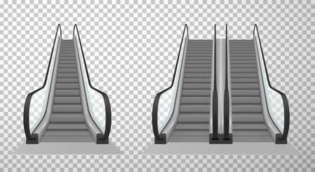 Collection of double and single escalator stairway electronic equipment vector illustration