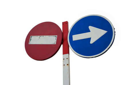 banning: two road signs banning and forcing. Isolated on white background