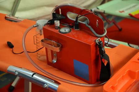 aspirator: portable medical aspirator that can be used in a wide variety of situations by emergency services Stock Photo