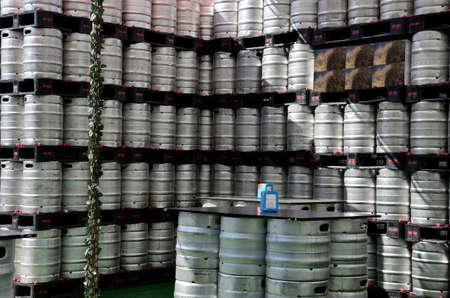 kegs: beer kegs in rows outdoor