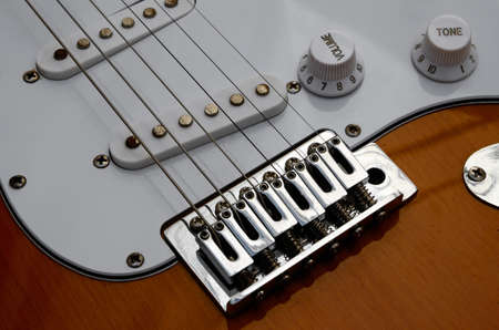 focus stacking: detail of electric guitar  focused using the technique of focus stacking