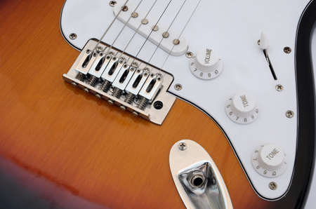 focus stacking: detail of electric guitar focused using the technique of focus stacking Stock Photo