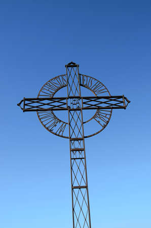 len: iron cross in Tentud?a monastery in Calera de Le?n, a municipality located in the province of Badajoz, Extremadura, Spain.