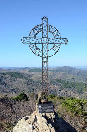 Eisenkreuz in Tentud? ein Kloster in Calera de Le? n, einer Gemeinde in der Provinz Badajoz, Extremadura, Spanien.