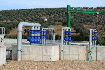 water treatment plant: a drinking water treatment plant with valves and pipes