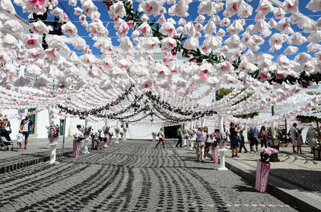 festoon: Flower Festival Festas do Povo, Campo Maior 2015. Many streets of the historic center are coated With Thousands of paper flowers, handmade by the people of Campo Maior. Photo taken on: August 24th, 2015.