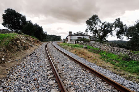 halt: landscape with halt and abandoned railroad tracks
