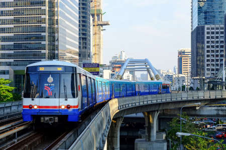 Bangkok-Thailand Mar 8 2016: BTS Sky train mass transit system in Bangkok to help facilitate and speed the journey. Editorial