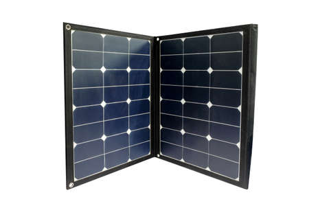 Solar cell panel for receiving energy from the sun with compact design so that it can be deployed anywhere. isolated on white background, smart technology and renewable energy Stock Photo
