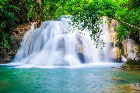 Huai Mae Khamin Waterfall on winter season, Huai Mae Khamin Waterfall Natural attractions. National Park on the Lake, Srinakarin Dam, Kanchanaburi, Thailand
