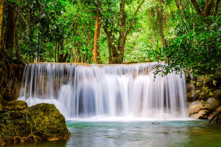 Huai Mae Khamin Waterfall on winter season, Huai Mae Khamin Waterfall Natural attractions. National Park on the Lake, Srinakarin Dam, Kanchanaburi, Thailand
