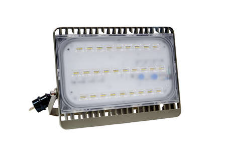 Portable high power LED light, LED light for use on indoor and outdoor, are reduce energy consumption and have a longer lifespan, isolated on white background. Stock Photo