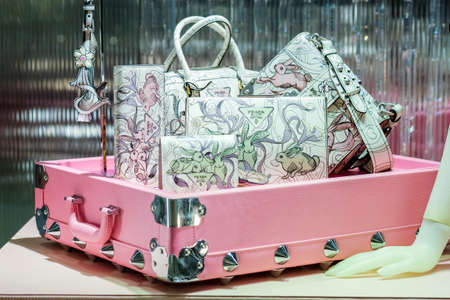 Bangkok-Thailand DEC 21 2017: PRADA Leather handbag put on pink case, a new collection for lady in showroom on PRADA Shop at Siam Paragon shopping center