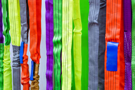 Multicolored of safety sling, Sling for industrial use during safety on industrial factory, construction and logistics.