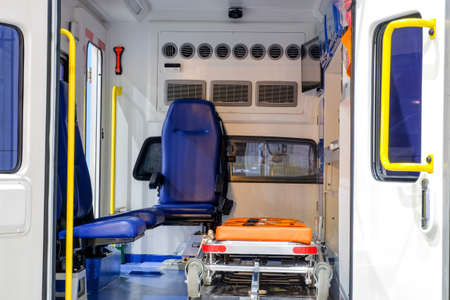 Inside an ambulance with medical equipment for helping patients before delivery to the hospital.
