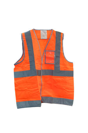 Fluorescent orange vest with reflective strips, Vest is made of polyester fabric. Expected with a silver reflective strip. To increase security Suitable for use in the night, isolated on white background