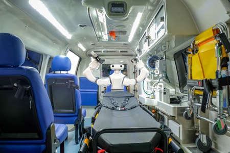 Inside smart ambulance car with medical equipment and smart robot assistant for helping patients before bring to hospital, smart medical 4.0 and smart technology for rescue human
