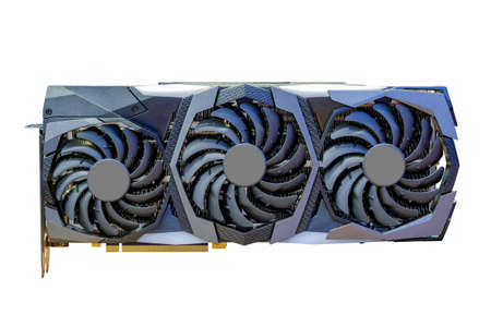 High performance graphic card new model and tripple fans cooling technology for computer desktop for use work, entertainment and bitcoin mining, isolated on white background