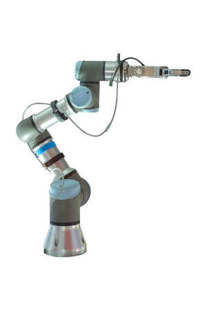 Industrial robotic that installed gipping arms for grip and hold workpiece in working on smart manufactory, isolated on white background