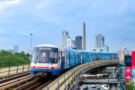 Bangkok-Thailand AUG 21 2019: BTS Sky Train on cityscape background in daytime , Sky Train is a mass transit system in Bangkok to assist facilitate and fast journey