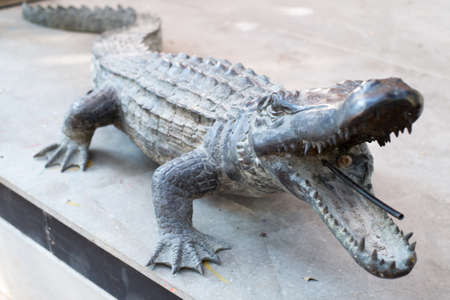 constructed: art of Alligator constructed of steel