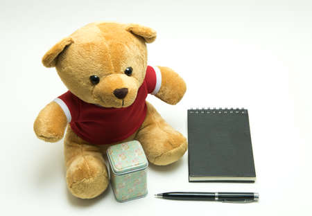 Bear doll , note book ,pen on white background