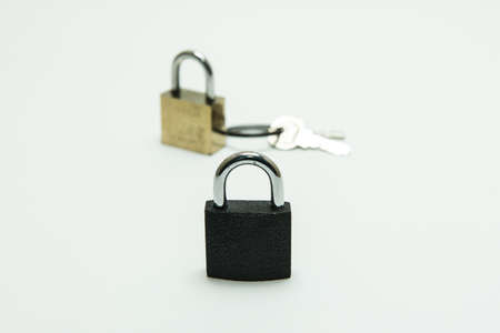 black padlockcombination lock, bicycle lock locked isolated white