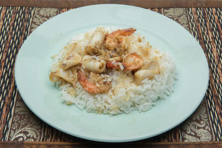 Shrimp  squid fried with garlic and pepper Stock Photo