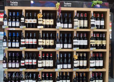 beverage display: HUA HIN ,THAILAND - Dec28,2015 : Shop wines In-store shopping mall at Hua Hin , thailand Editorial