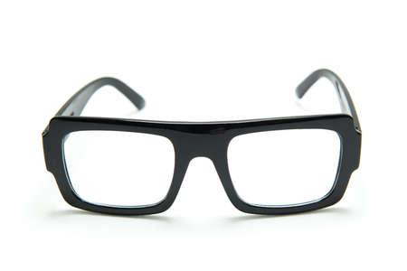 Black glasses on white background , isolated